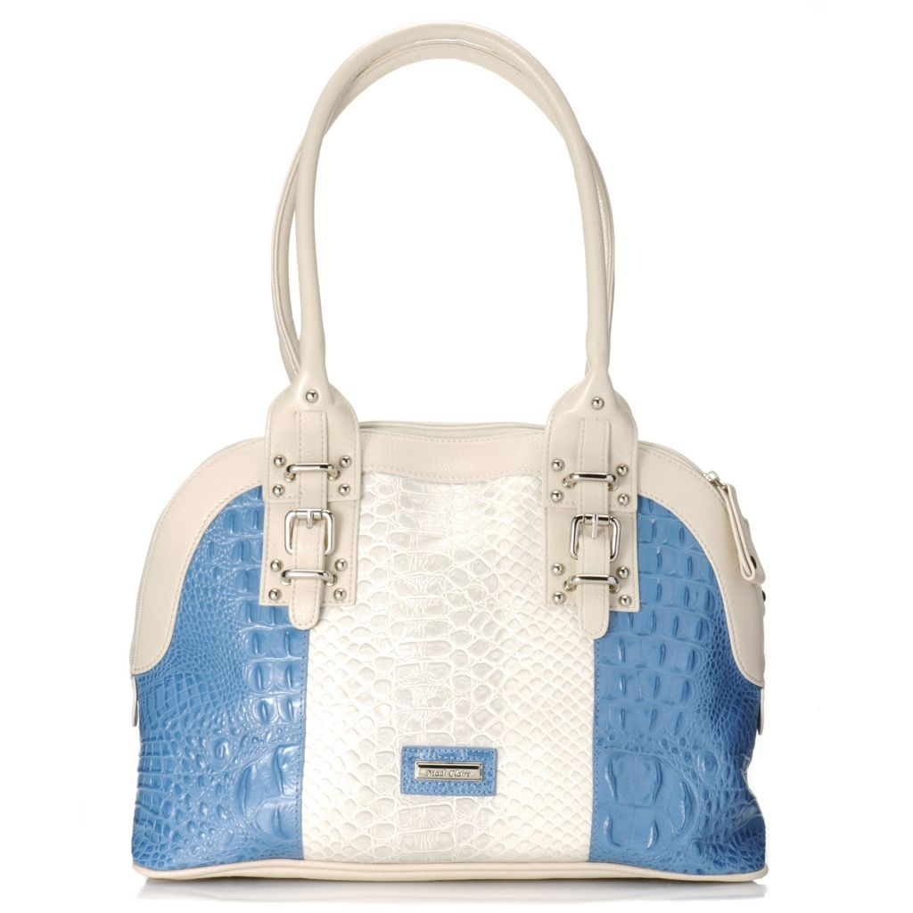 717-235 - Madi Claire Croco Embossed Leather Double Handle Color Block Dome Satchel