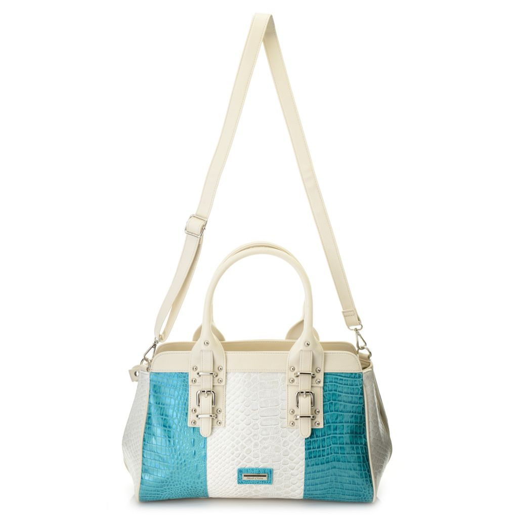 717-236 - Madi Claire Croco Embossed Leather Double Handle Color Block Satchel w/ Strap