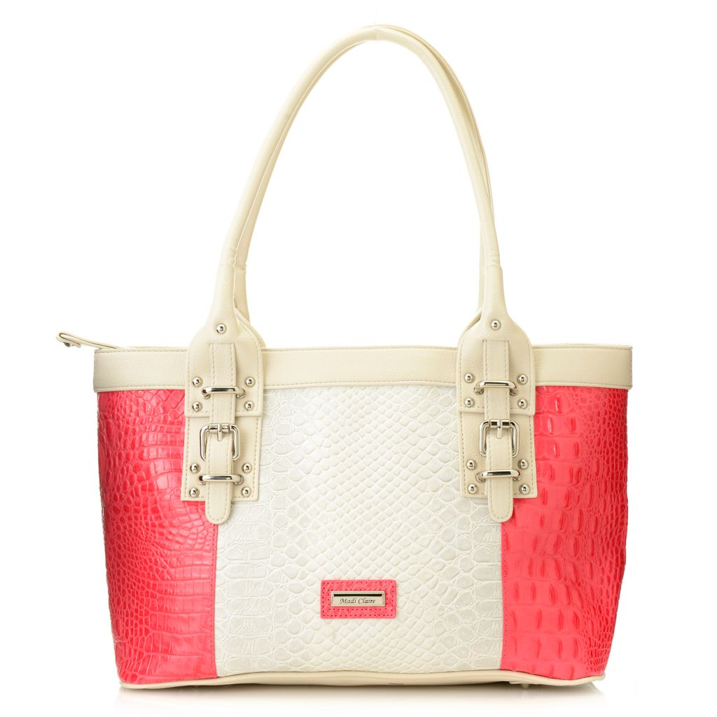 717-237 - Madi Claire Croco Embossed Leather Double Handle Color Block Zip Top Tote Bag