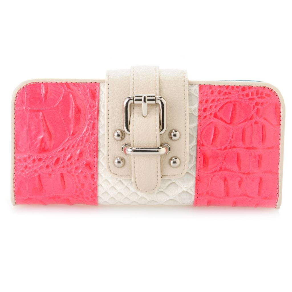 717-238 - Madi Claire Croco Embossed Leather Flap-over Buckle Detailed Color Block Wallet
