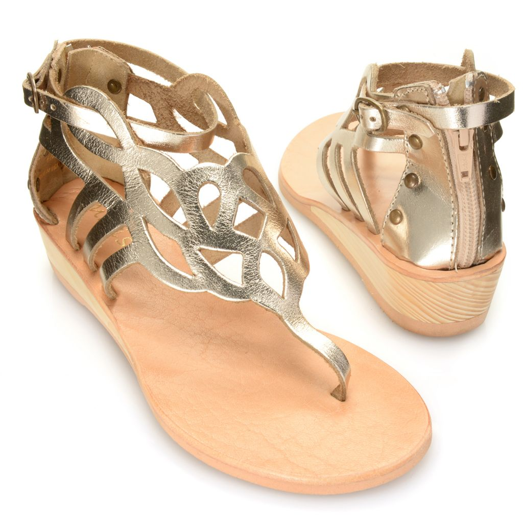 717-245 - Matisse® Leather Cut-out Back Zip & Ankle Strap Demi Wedge Thong Sandals
