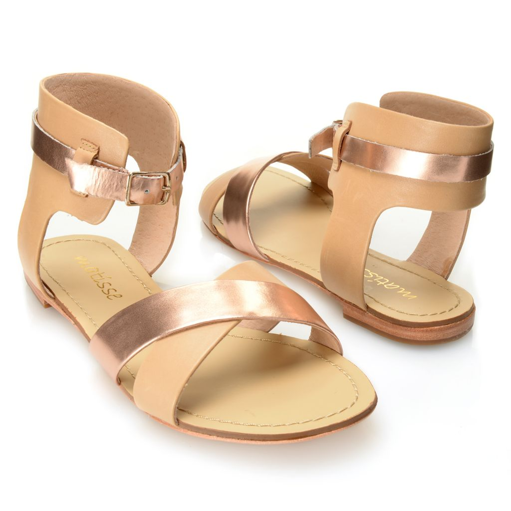717-249 - Matisse® Matte & Metallic Leather Crisscross Ankle Strap Sandals