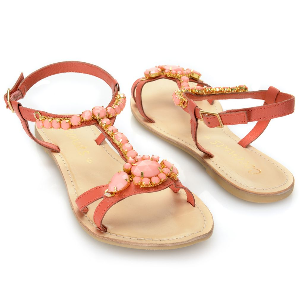 717-253 - Matisse® Leather Beaded T-Strap Sandals