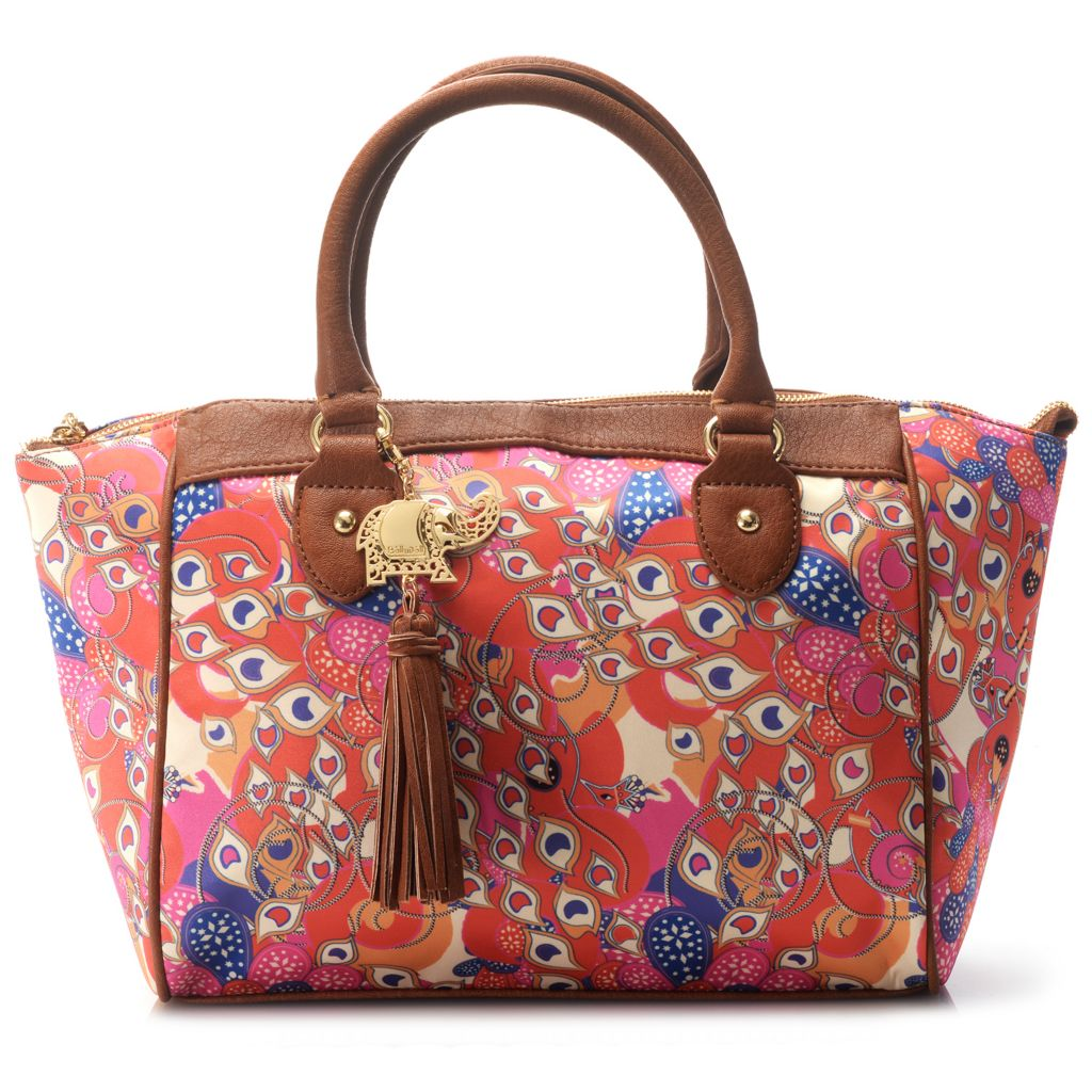 717-260 - BollyDoll™ Printed Double Handle Zip Top East-West Satchel w/ Shoulder Strap