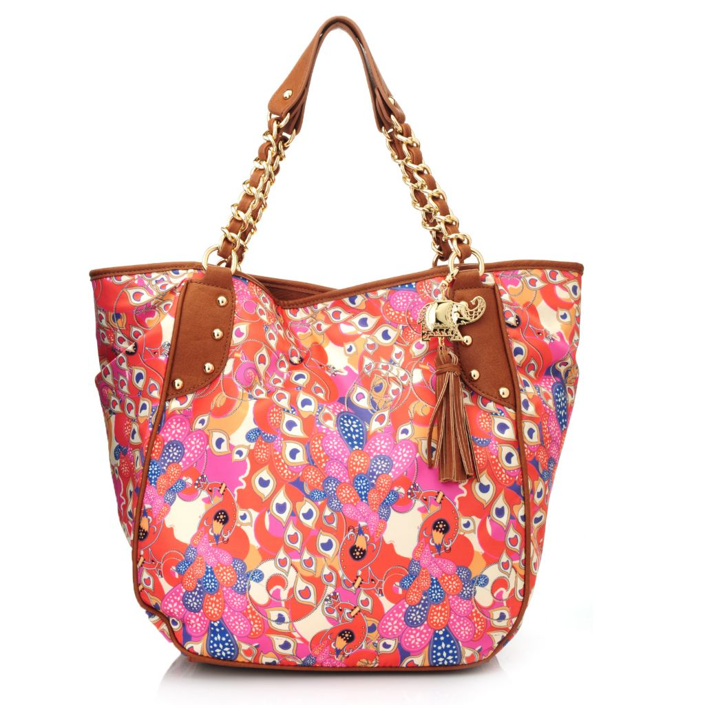 717-261 - BollyDoll™ Printed Double Handle Chain Detailed Shopper Tote Bag
