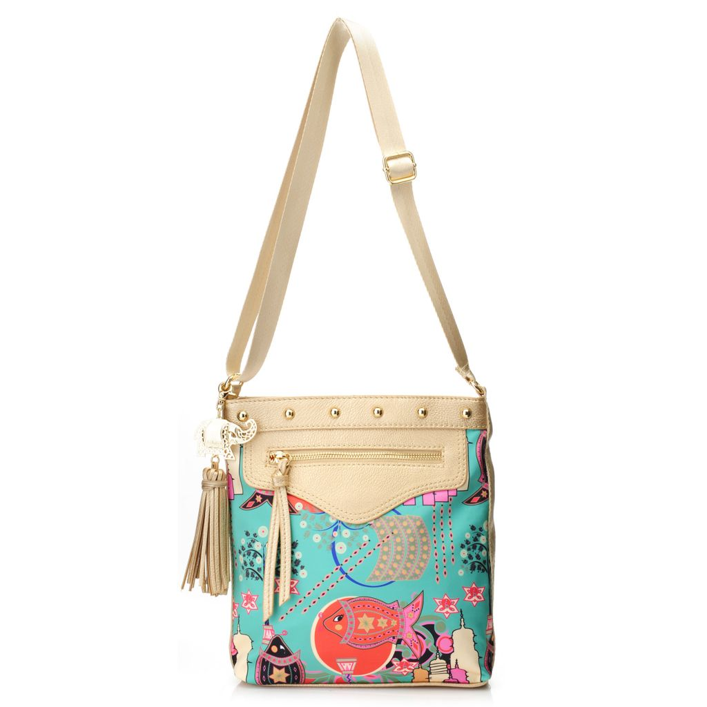 717-264 - BollyDoll™ Printed & Studded Zip Top Cross Body Bag