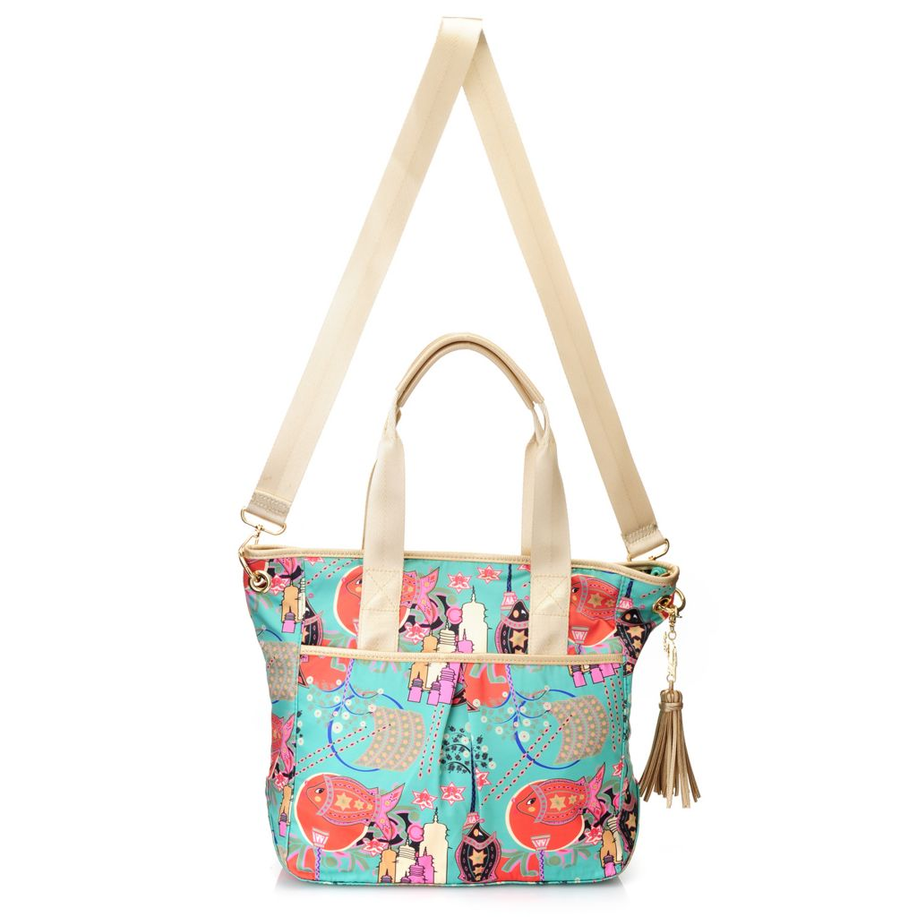 717-265 - BollyDoll™ Printed Zip Top Tote Bag w/ Cross Body Strap