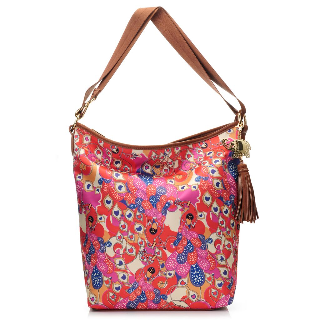 717-266 - BollyDoll™ Printed Zip Top Convertible Strap Hobo Handbag