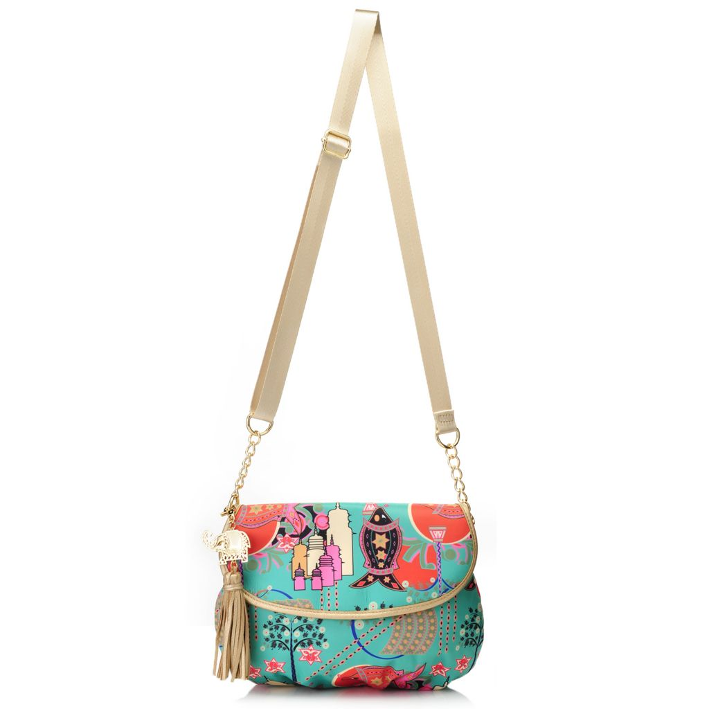 717-267 - BollyDoll™ Printed Flap-over Chain Detailed Cross Body Bag