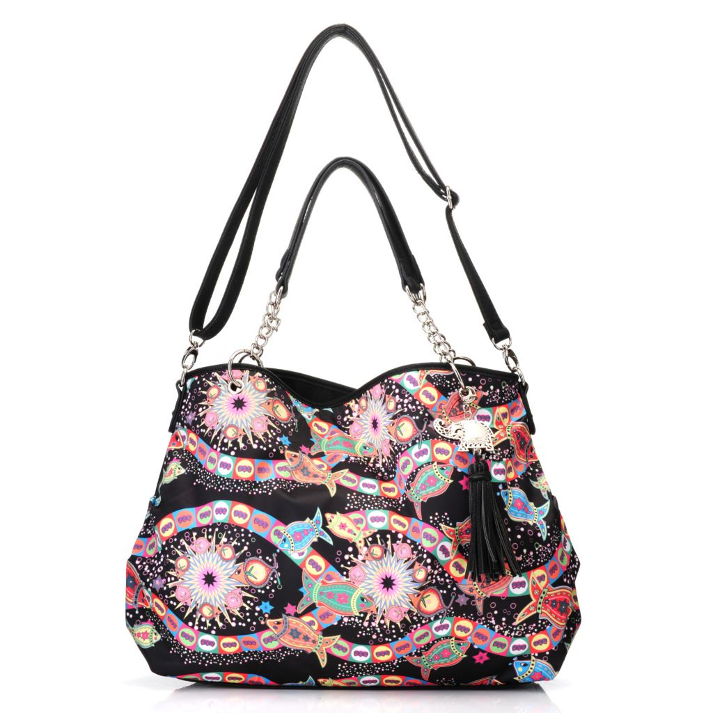 717-268 - BollyDoll™ Printed Double Handle Chain Detailed Tote Bag w/ Strap