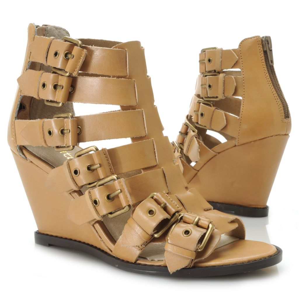 717-273 - Matisse® Leather Buckle Detailed Gladiator-Style Wedge Sandals