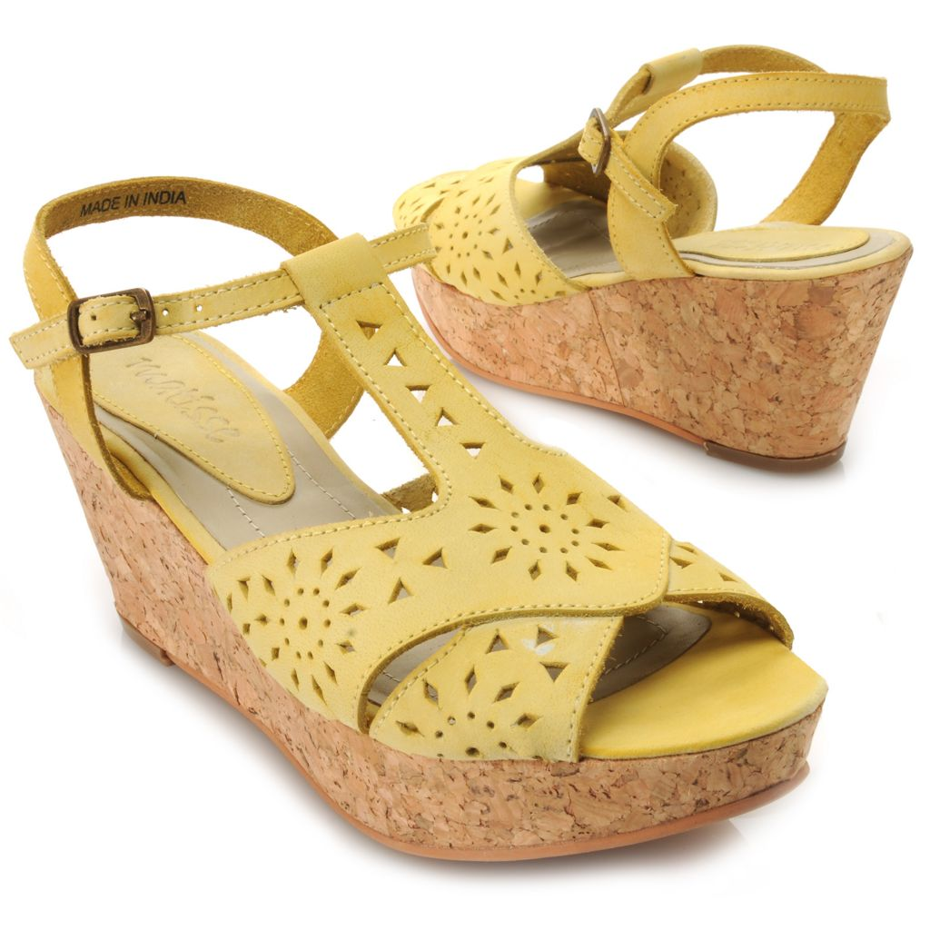 717-274 - Matisse® Suede Leather Laser Cut Wedge Sandals