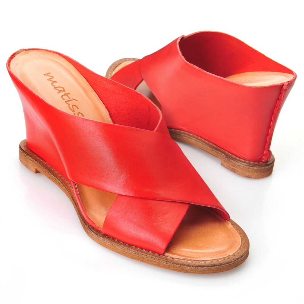717-275 - Matisse® Leather Slip-on Crossover Strap Wedge Sandals