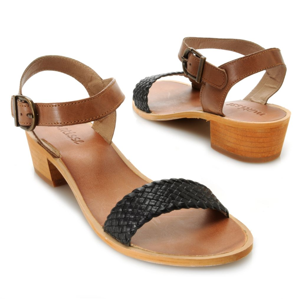 717-277 - Matisse® Leather Woven Strap Buckle Detailed Sandals