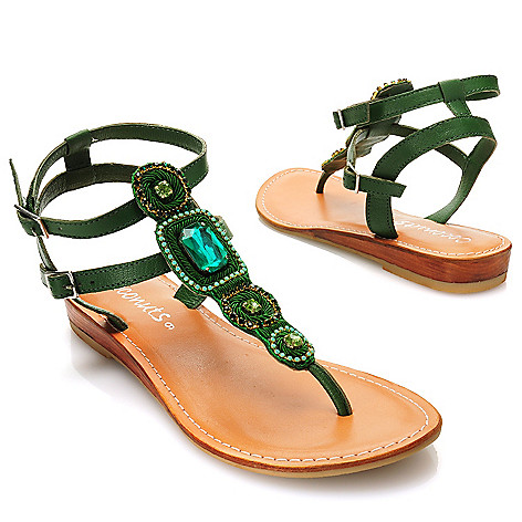 717-279 - Matisse Leather Rhinestone Embellished Thong Sandals