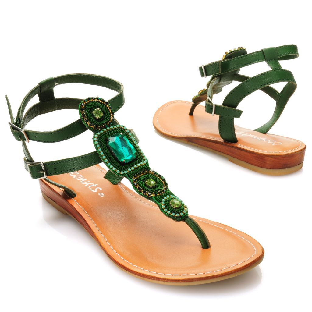 717-279 - Matisse® Leather Rhinestone Embellished Thong Sandals