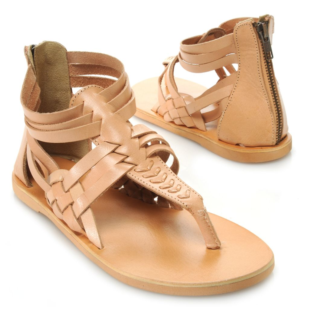 717-280 - Matisse® Leather Woven Back Zip Thong Sandals