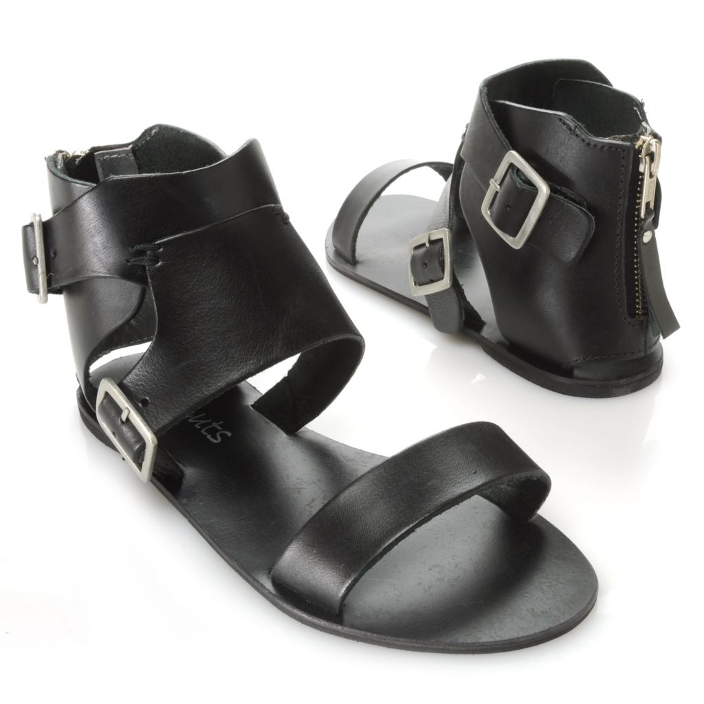 717-284 - Matisse® Leather Back Zip Buckle Detailed Ankle Wrap Sandals