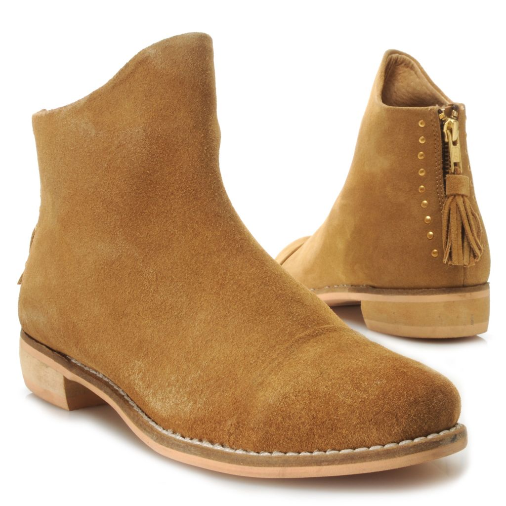 717-285 - Matisse® Suede Leather Stud & Tassel Detailed Back Zip Ankle Boots
