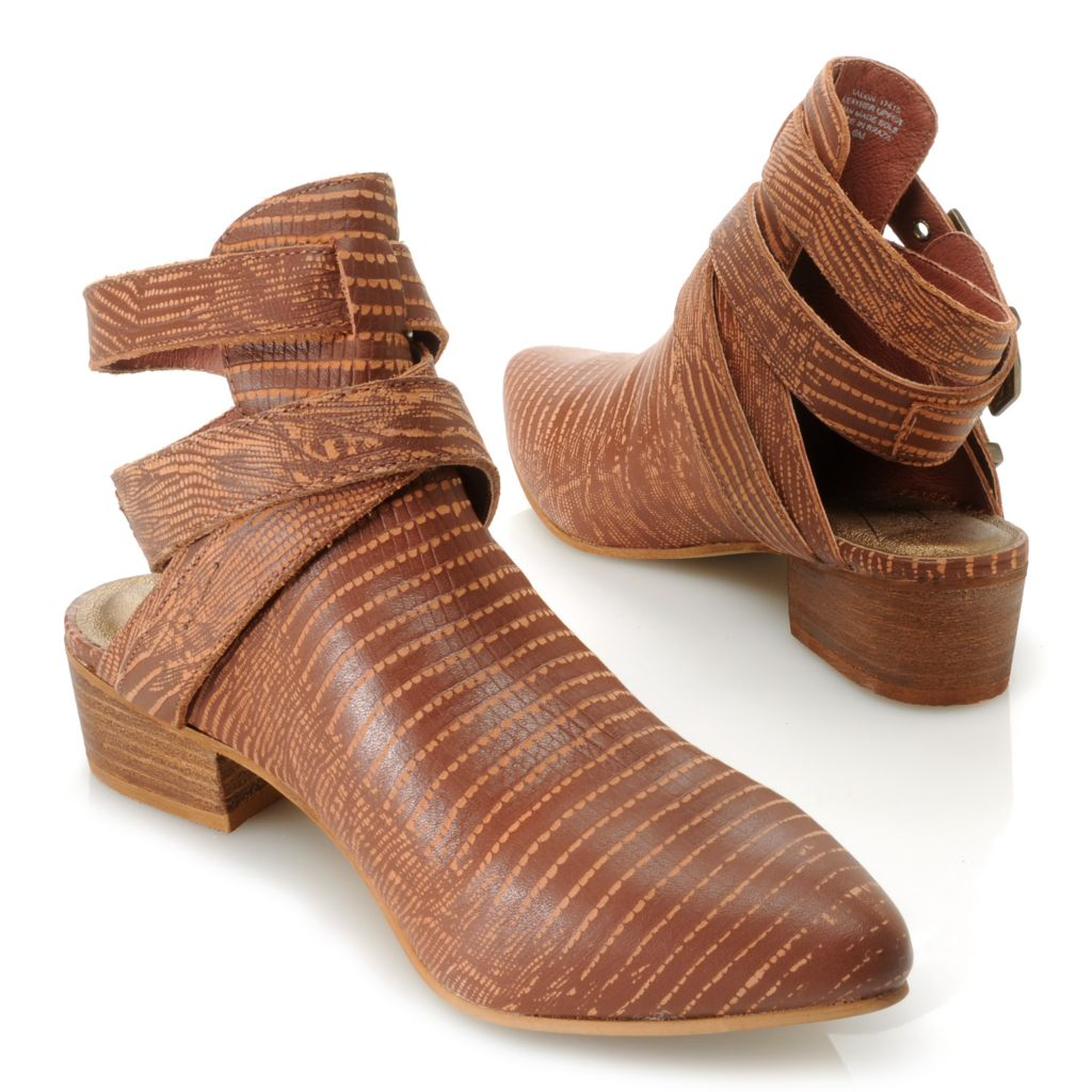 717-286 - Matisse® Leather Reptile Print Wrap Around Open Back Ankle Boots