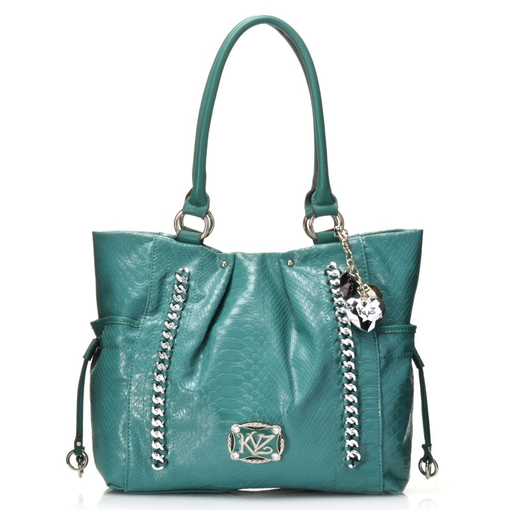 717-288 - Kathy Van Zeeland Double Handle Reptile Embossed Chain Detailed Shopper Handbag