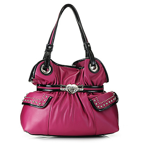 717-289 - Kathy Van Zeeland Double Handle Stud & Rhinestone Detailed Belted Shopper Handbag