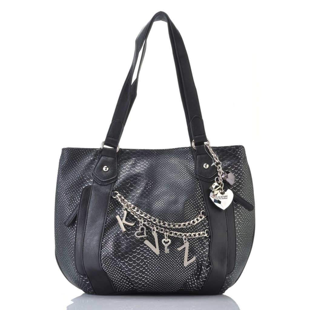 717-291 - Kathy Van Zeeland Double Handle Initial Charms & Chain Detailed Shopper Handbag