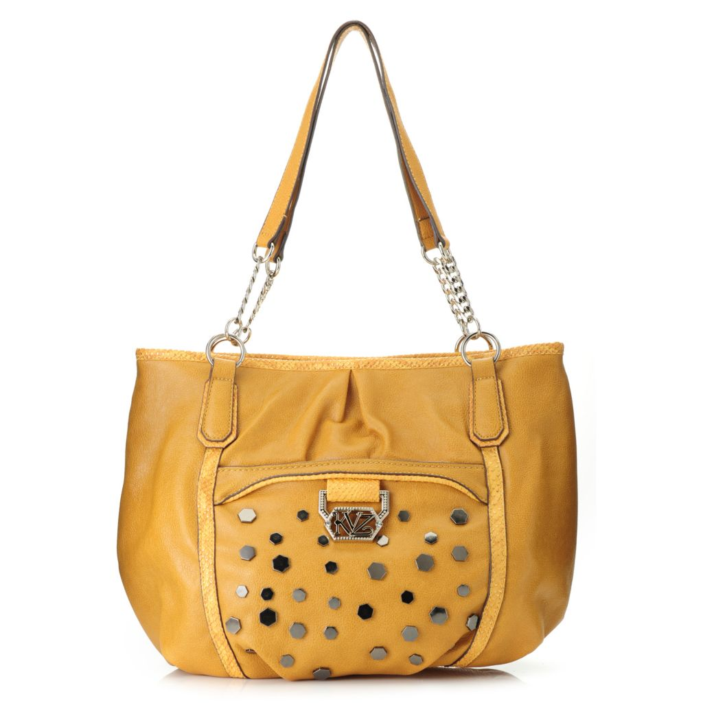 717-297 - Kathy Van Zeeland Chain Detailed Double Handle Studded Shopper Handbag