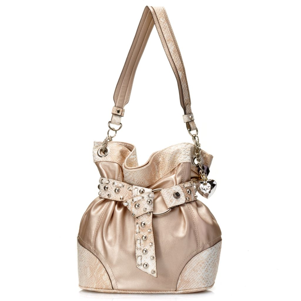 717-299 - Kathy Van Zeeland Reptile Embossed Cinched & Belted Stud Detailed Hobo Handbag
