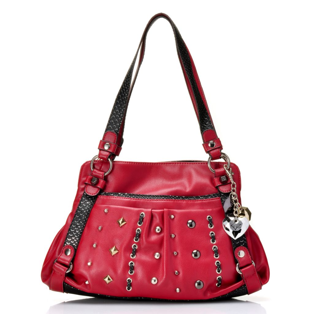 717-301 - Kathy Van Zeeland Double Handle Stud & Loop Detailed Satchel