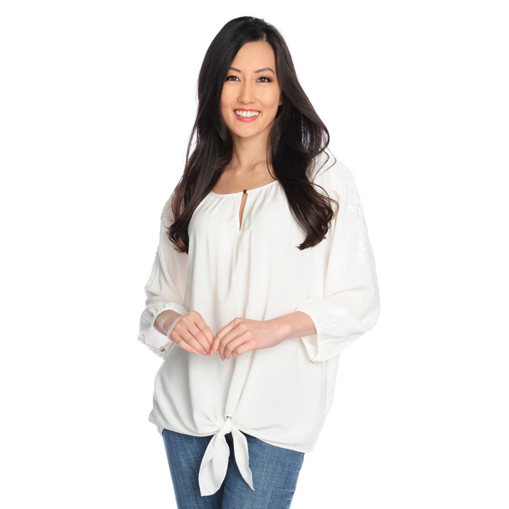 717-303 - Love, Carson by Carson Kressley Woven Blouson Sleeved Tie-Front Top