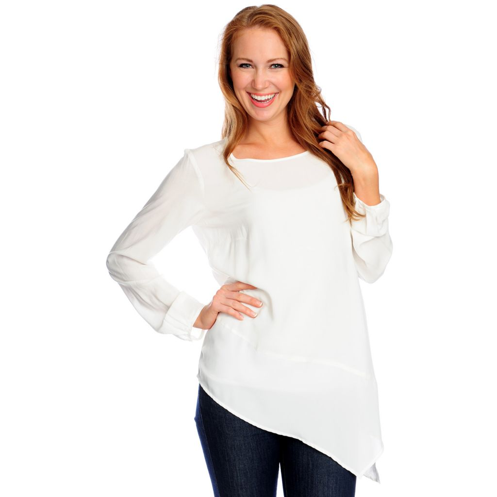 717-304 - Love, Carson by Carson Kressley Challis Long Sleeved Asymmetrical Top