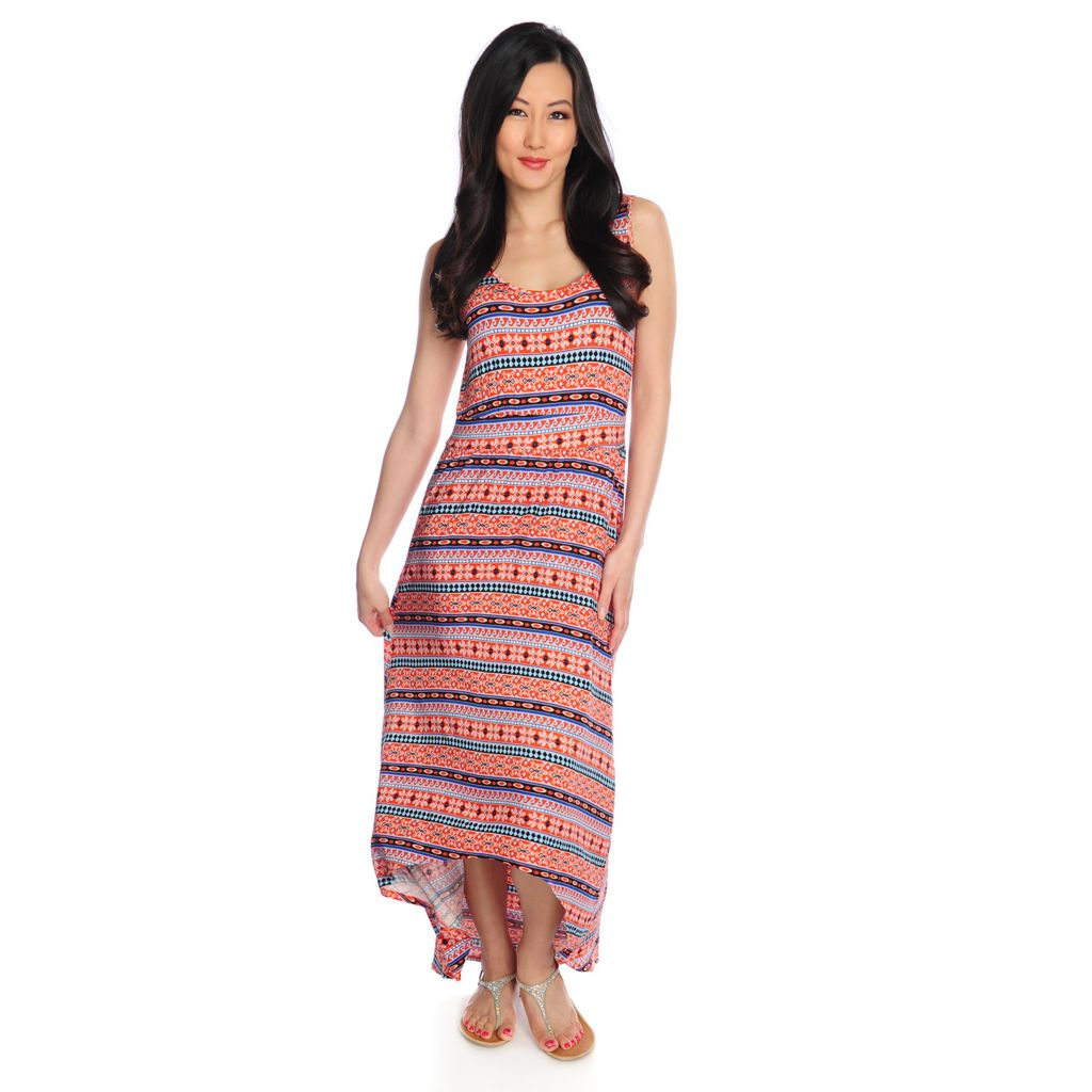 717-311 - Love, Carson by Carson Kressley Printed Knit Sleeveless Hi-Lo Maxi Dress