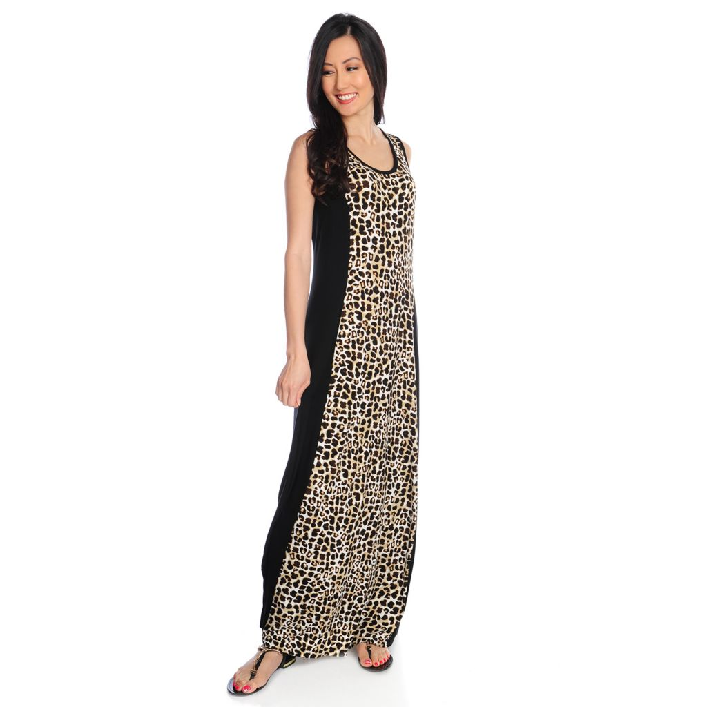 717-312 - Love, Carson by Carson Kressley Stretch Knit Sleeveless Pieced Maxi Dress