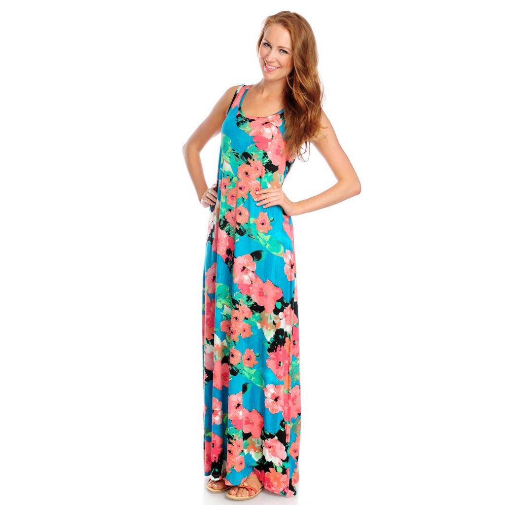 717-313 - Love, Carson by Carson Kressley Stretch Knit Sleeveless Printed Maxi Dress