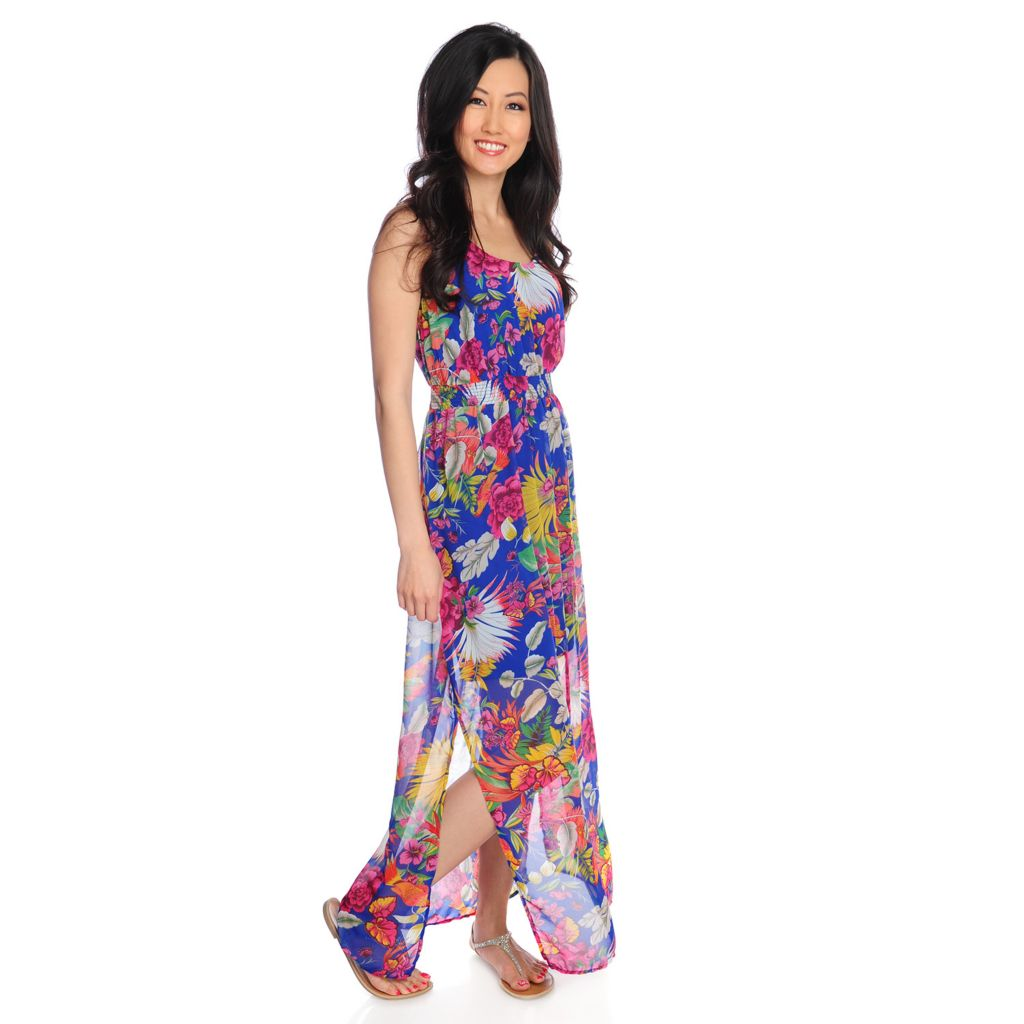 717-314 - Love, Carson by Carson Kressley Printed Chiffon Sleeveless Maxi Dress