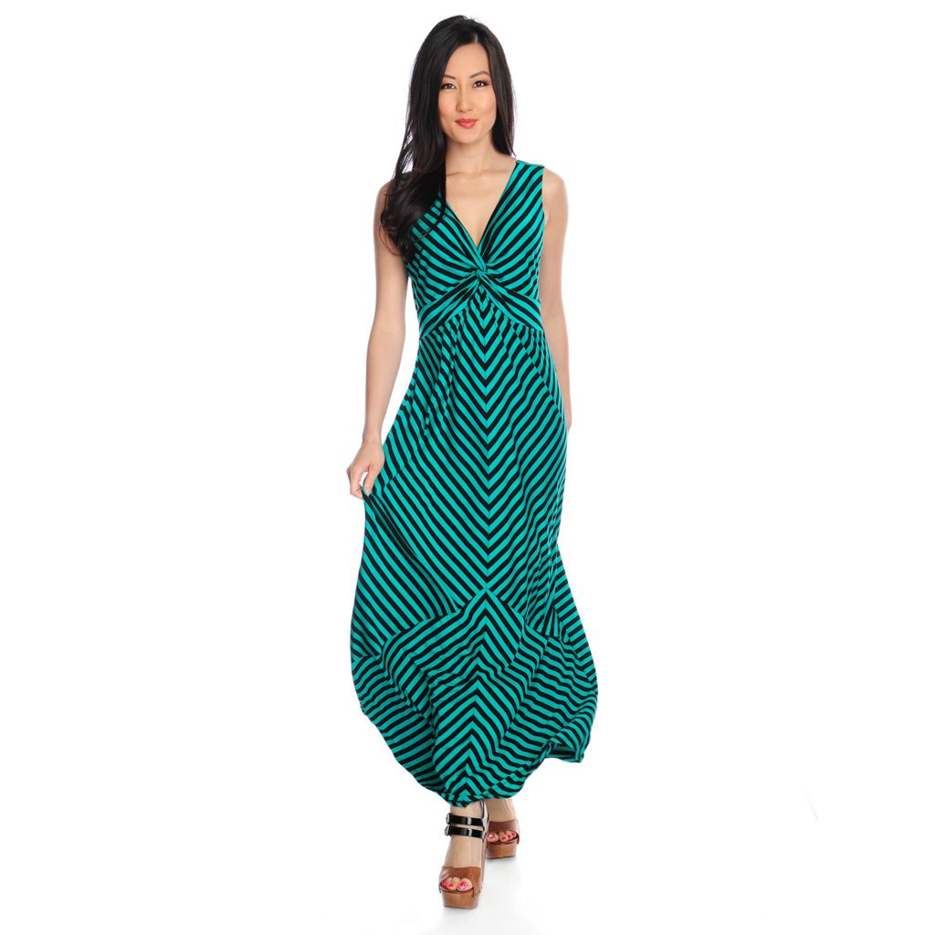 717-316 - Love, Carson by Carson Kressley Stretch Knit Sleeveless Striped Maxi Dress