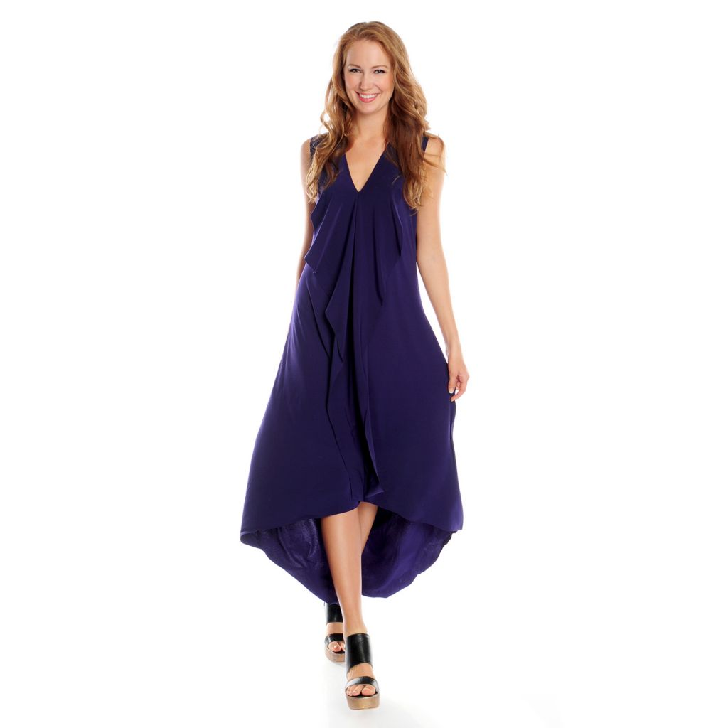 717-317 - Love, Carson by Carson Kressley Stretch Knit Sleeveless Ruffle Maxi Dress