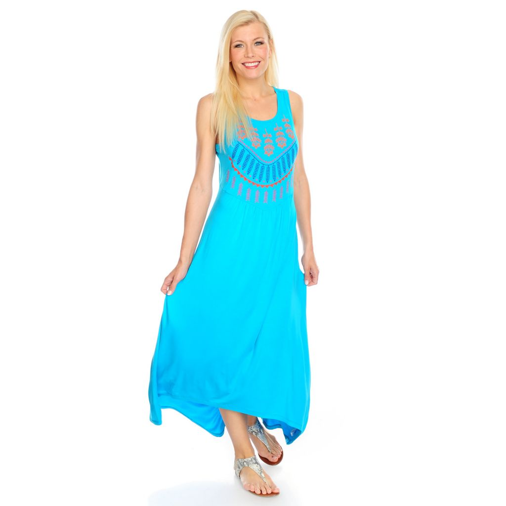 717-318 - Love, Carson by Carson Kressley Stretch Knit Embroidered Hi-Lo Maxi Dress