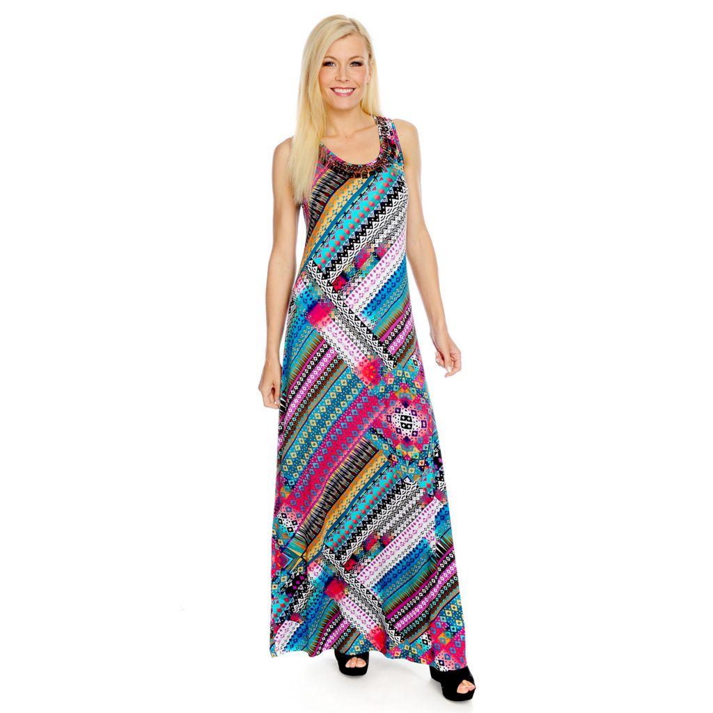 717-320 - Love, Carson by Carson Kressley Printed Knit Sleeveless Bead & Sequin Maxi Dress