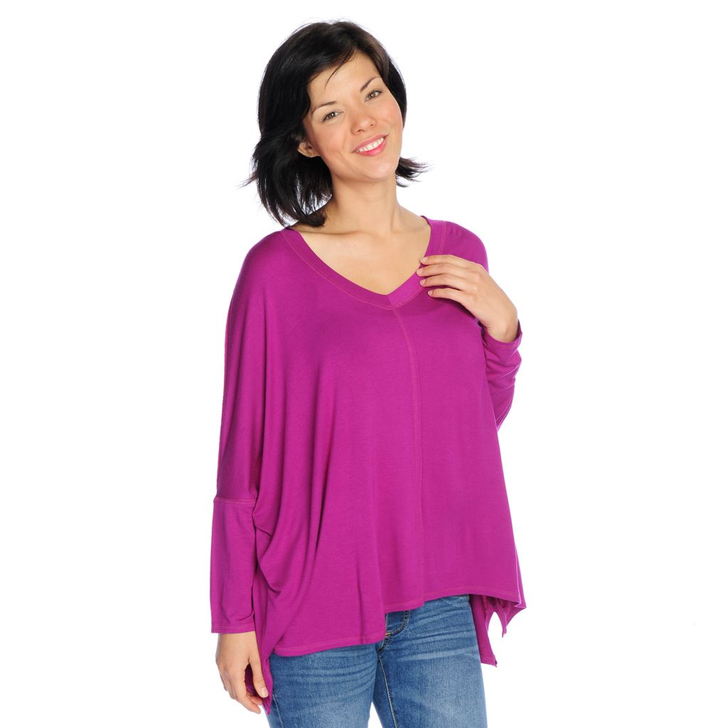 717-323 - Kate & Mallory Stretch Knit Dolman Sleeved V-Neck Hi-Lo Tunic