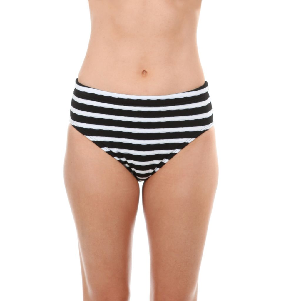 717-332 - Maidenform® Beach High Waisted Black & White Stripped Bottom