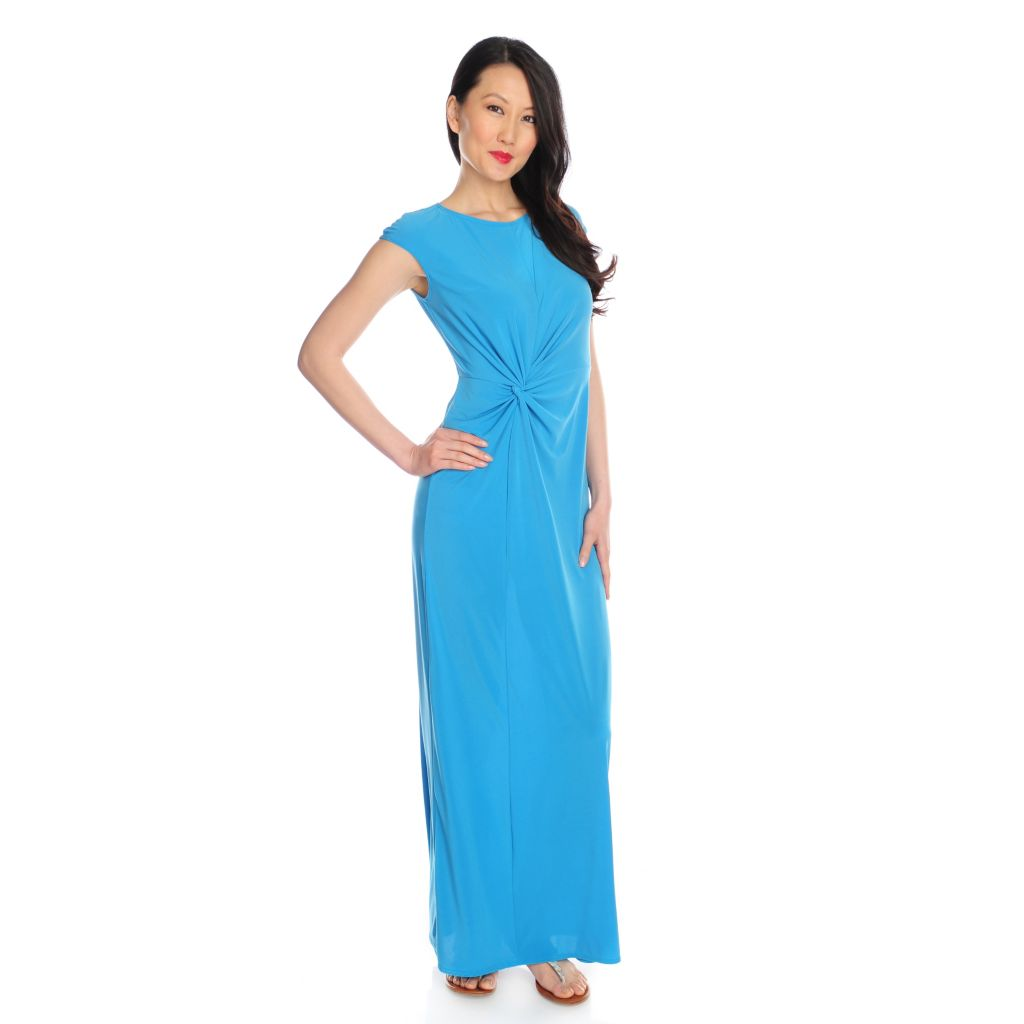 717-345 - Kate & Mallory Stretch Knit Cap Sleeved Twisted Side Knot Maxi Dress