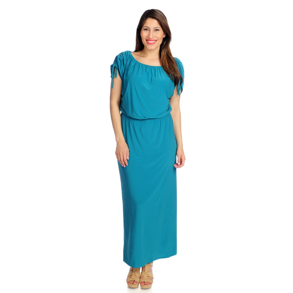 717-347 - Kate & Mallory Stretch Knit Dolman Sleeved Elastic Waist Blouson Maxi Dress