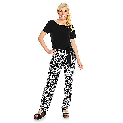 717-348 - Kate & Mallory® Stretch Knit Short Sleeved Printed Pant Self-Tie Jumpsuit