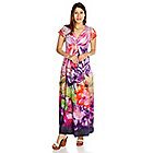 717-354 - One World Micro Jersey Flutter Sleeved Back Applique V-Neck Maxi Dress