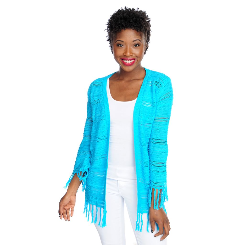 717-356 - Kate & Mallory Mixed Stitch Knit 3/4 Sleeved Fringe Trim Open Cardigan