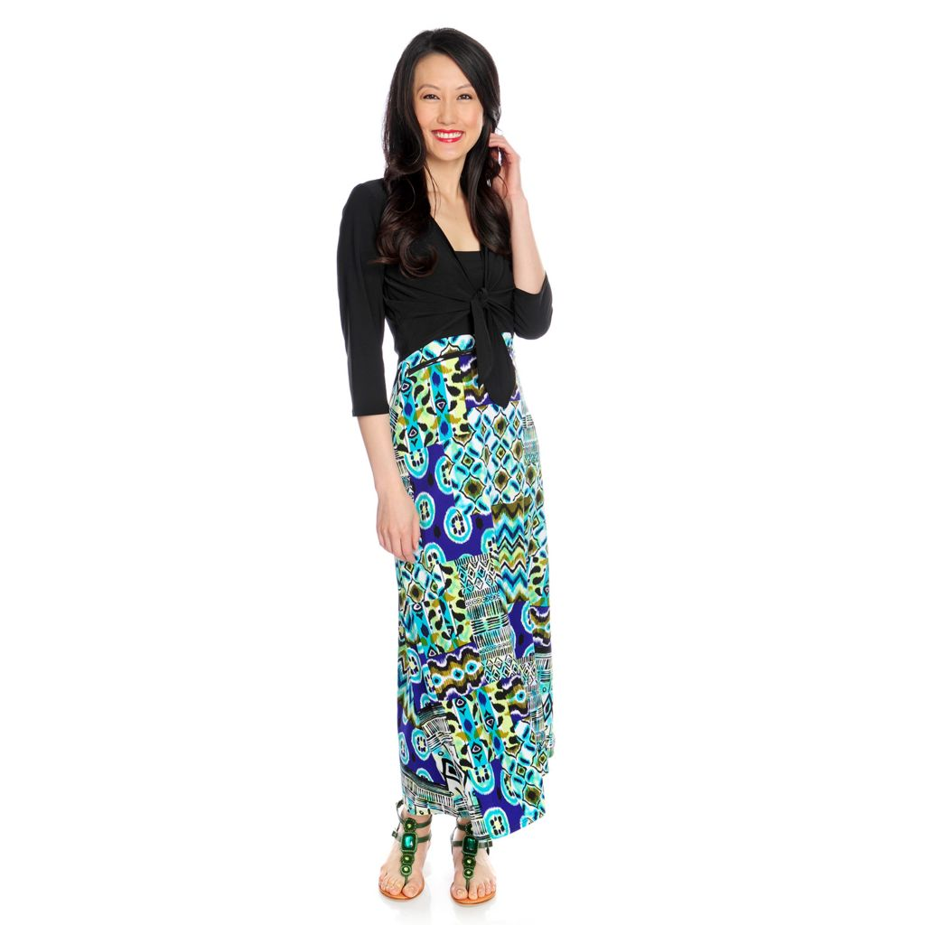 717-359 - aDRESSing WOMAN Printed Knit 2-in-1 Dress & Maxi Skirt w/ Solid Shrug
