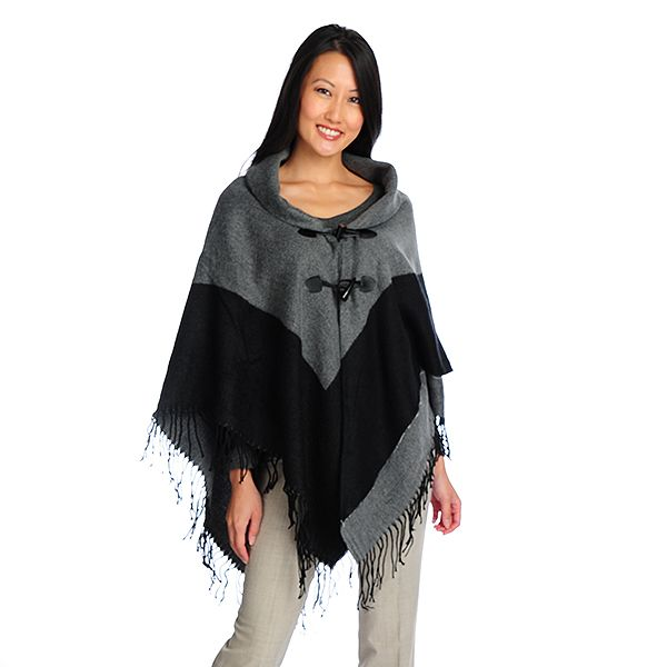 717-365 - Accessory Street Woven Acrylic Toggle Closure Contrast Border Fringed Poncho
