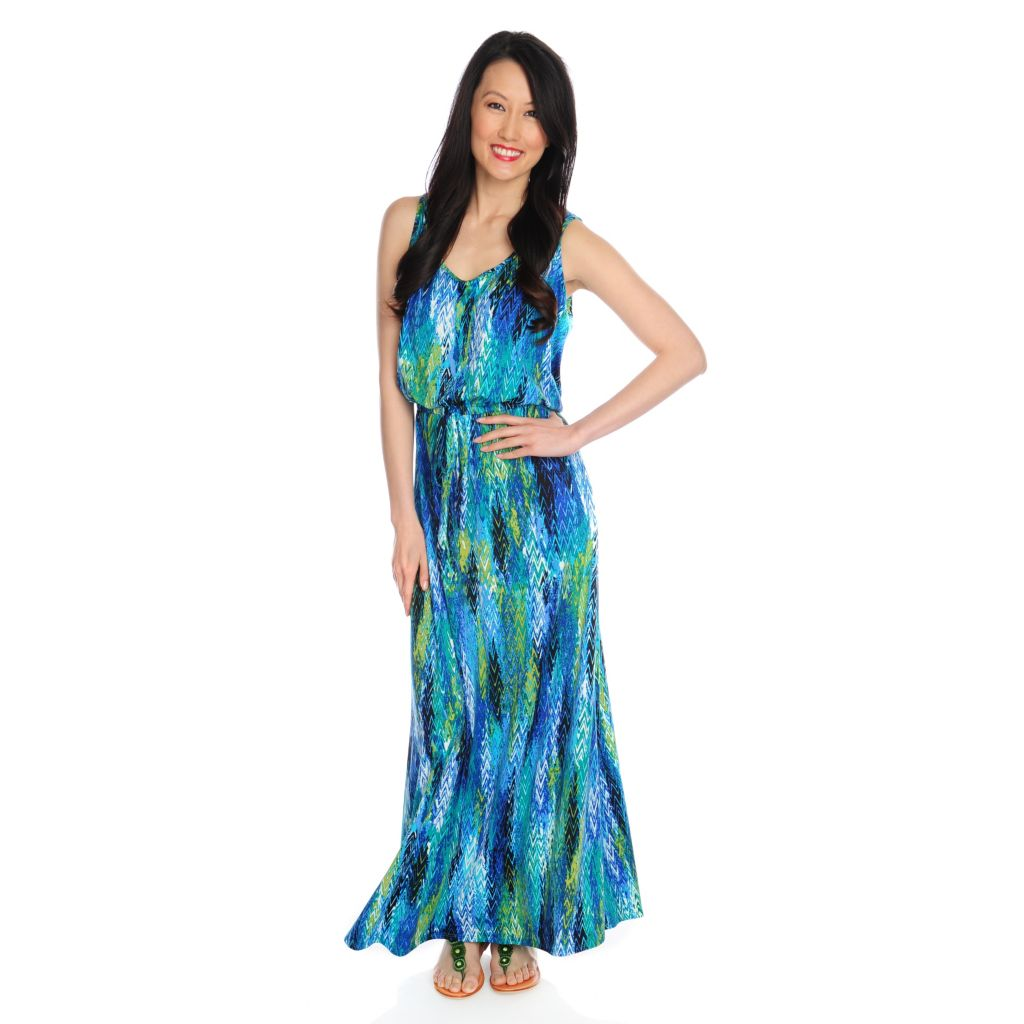 717-370 - Kate & Mallory Stretch Knit Sleeveless Belted Self-Tie Printed Maxi Dress